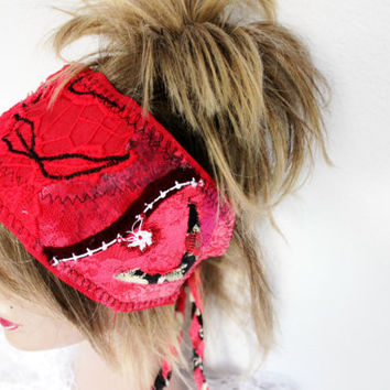Red Headband, Hippie Head, Wear Red Festival, Red Boho Head, Red Dread Band, Dread Wrap Women's Christmas gift, Intergalactic Clothing