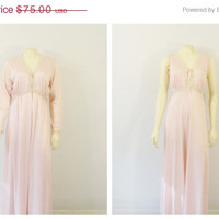 SALE Vintage Nightgown & Dressing Gown Robe Pinehurst Lingerie Blush Pink and Beige Negligee and Peignoir Fits Modern S M  L