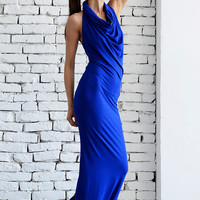 NEW Royal Blue Long Dress/Elegant Tight Fitting Dress/Open Back Blue Dress/Summer Sexy Dress/Long Tight Blue Top/Backless Casual Dress