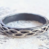 Braided Sterling Silver Ring - Silver Braid Ring - Celtic Wedding Ring - Viking Ring - Stackable Ring - Unisex Wedding Band - Rustic Ring