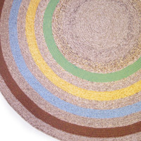 Large Blue green Yelow Violet  Melange Round Crochet Rug Bedroom Rug Kitchen Rug Livingroom Rug