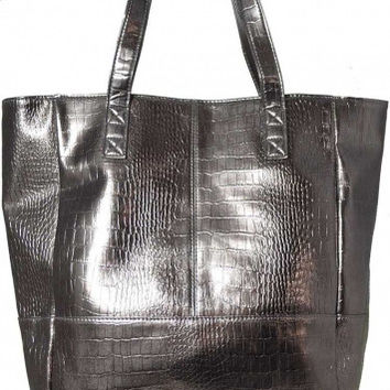 Metallic Mink Mock Croc Womens Tote Shopping Shopper Bag