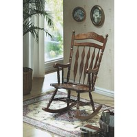 Dark Walnut Embossed Back Rocking Chair