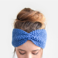 Womens Headband, Blue Knit Headband, Spring Turban, Boho Hair Turban, Wool Headband, Spring Hair Accesssory, Hand Knit Ear Warmer