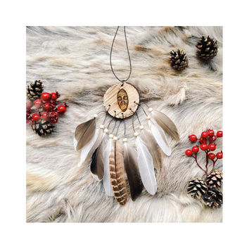 Dreamcatcher, Boho Dreamcatcher, Rustic Dreamcatcher, Small Dreamcatcher, Christmas Present, Wood, Natural, Boho Wall Hanging,Bohemian Decor