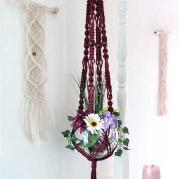 "Large macrame plant hanger, PLUM, hanging planter, pot holder, plant holder, hanging basket, modern, hippie, beads, 55"", hangers, maroon"