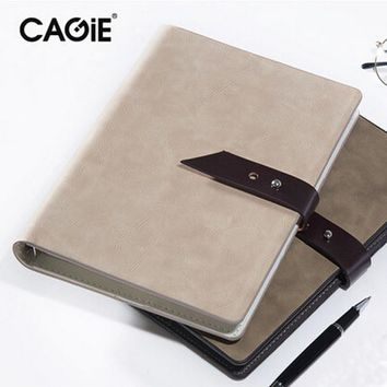 CAGIE Vintage Business Spiral Leather Notebook A5 Buckle Binder Planner Agenda Filofax Sketchbook Office Supplies Study Planner