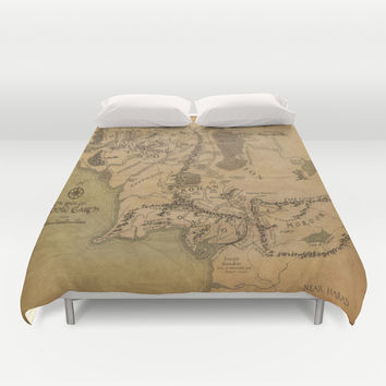 Map of Middle Earth Duvet Cover by Rachel Bradford