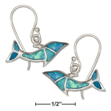 Sterling Silver Synthetic Blue Opal Swimming Dolphin Earrings