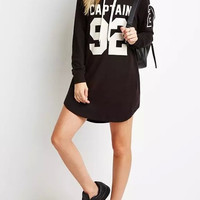 Letter And number Print Hooded Long-Sleeve Dress
