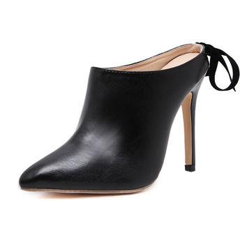New Simple style women mules pumps sexy party pointed toe black leather high heels mules shoes woman lace-up thin heel slippers