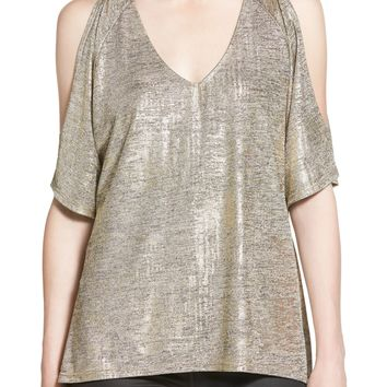 Trouvé Metallic Cold Shoulder Top | Nordstrom