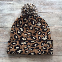 Taupe Leopard Beanie