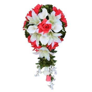 Cascade Bouquet:Coral roses with lily and calla lily artificial flowers