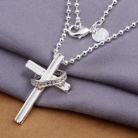DUMAN Fashion Jewelry 925 Sterling Silver Plated Necklace White Rhinestone Ring Cross Necklace Valentine's day, Christmas Gifts
