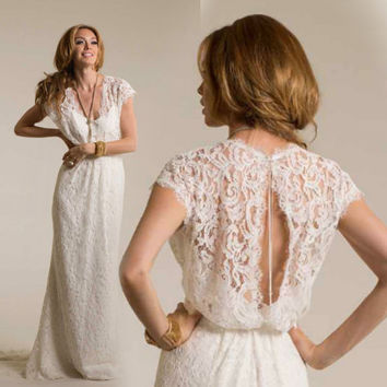 V Neck Lace Wedding Dress Boho Wedding Dress Lace Boho Wedding Dress