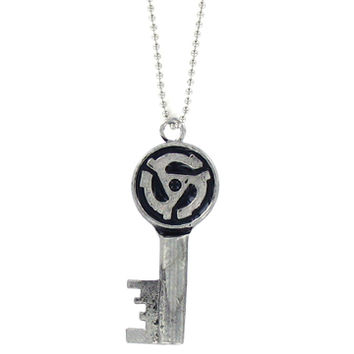45 Record Adapter Skeleton Key Necklace