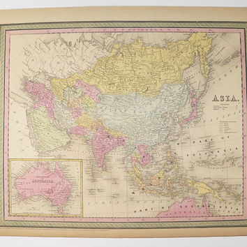 1852 Mitchell Asia Map, Antique Map of Asia, Middle East Map, Malaysia Map Australia, Vintage Map, Wanderlust Gift for Guy, Man Cave Decor