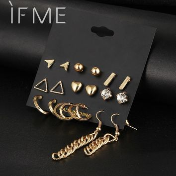 9 Pcs/Set Crystal Heart Gold Color Stud Earrings Tessal Triangle Vintage Silver Color Earring Set For Women Jewelry Oorbellen