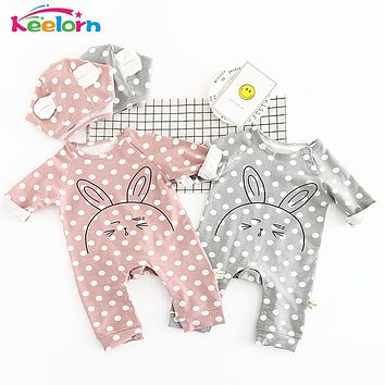 Keelorn Baby Rompers 2017 New Baby Boy Girl Clothes Cute rabbit pattern baby clothing 2017 Spring Autumn Baby Clothes with hat