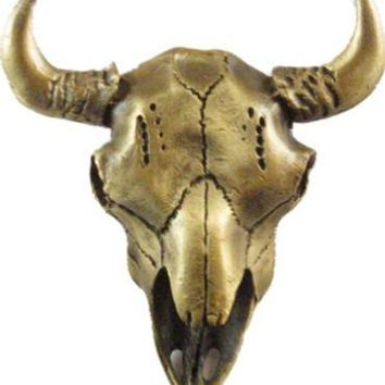 Buffalo Skull Cabinet Knob Antique Brass
