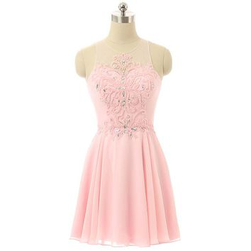 Pink Chiffon Scoop Elegant Crystal Beading Prom Gown Sexy See Through Tulle Short Evening Dress