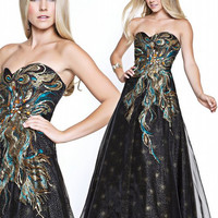 SALE! Black Strapless Peacock Feather Embroidered Gown - Unique Vintage - Prom dresses, retro dresses, retro swimsuits.