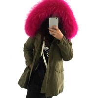 PLUS SIZE - 2016 Military Fur Parka with Sherpa Lining  - HOT - On Sale
