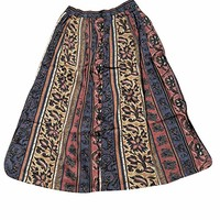 Mogul Interior Womens Beach Maxi Skirt Button Front Boho Summer Skirts M
