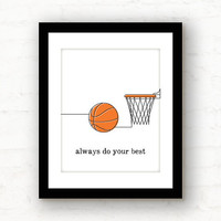 do your best // basketball decor // sports decor // basketball art // basketball print