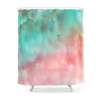 Society6 Pink And Green Watercolor Art Shower Curtain