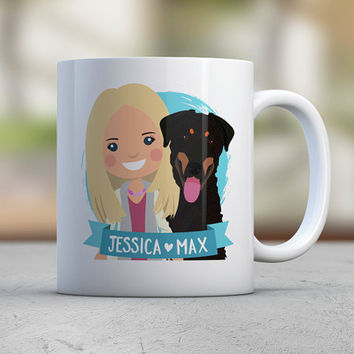 Dog Lover Gift Custom Illustration Daughter Gift Birthday Gift Best Friend Coffee Mugs Cute Mugs Puppy Gift for Him Brother Gift