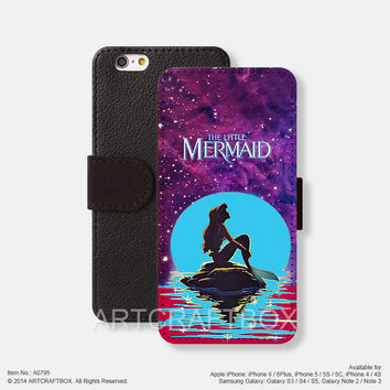 Little Mermaid Disney Movie Poster iPhone leather wallet cover Free Shipping iPhone 6 6 Plus 5S 5C case cover Samsung Galaxy S3 S4 S5 Note 2 Note 3 Note 4 case cover 795