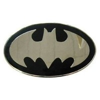 Official Licensed BATMAN Logo Belt Buckle Silver Black NWT NEW
