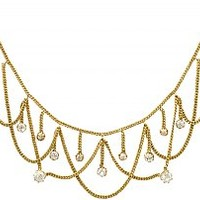 2.50 ct Diamond and 18 ct Yellow Gold Necklace - Antique Circa 1880
