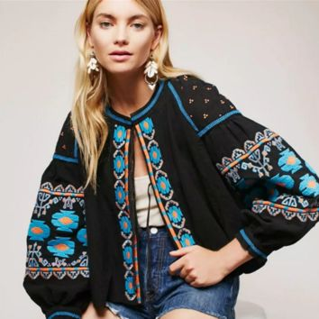 """Free People"" Fashion Multicolor Jacket Retro Totem Embroidery Long Sleeve Cardigan Coat"