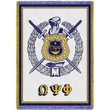 Omega Psi Phi Throw Blanket (White)