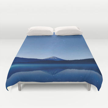 Duvet Cover, Blue Mountain Stars Night Sky Bedding Cover, Decorative Nature Bedroom Decor, Home Decor, King, Queen, Full