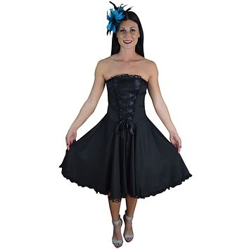 Gothic Rockabilly Black Satin Corset Lace-up Dress