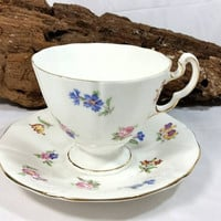 Vintage Adderley Fine Bone China England Teacup and Saucer/1789 Adderley Floral Teacup and Saucer/Spring Flowers Teacup/Fine Bone China Gift