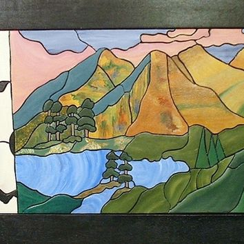 Abstract Wood Wall Art, Mountains, Lakes Wall hanging for Home Decor.