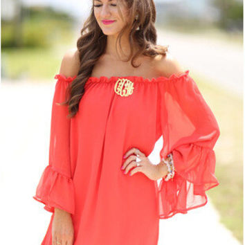 Red Long Sleeve One Piece Dress [4915011204]
