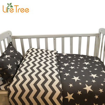 3 Pcs Cotton Crib Bed Linen Kit Baby Bedding Set Includes Pillowcase Bed Sheet Duvet Cover Without Filler Cartoon Patterns