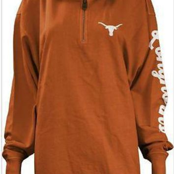 Texas Longhorns Jacket Women's Half Zip Fleece Gilbert Pressbox Burnt Orange
