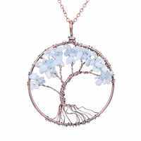 Tree of Life Handmade Necklace [Aquamarine]