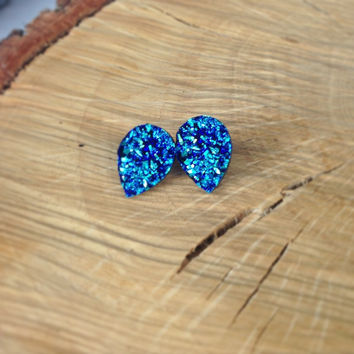 Meccafox-Blue Raw Druzy Teardrop  Earrings