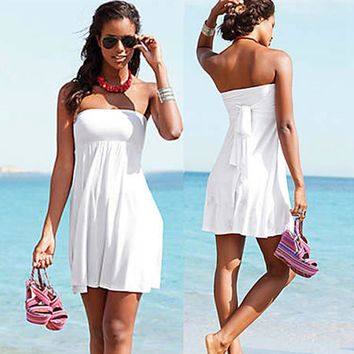 Relaxed Solid Empire Waist Beach Cover-up