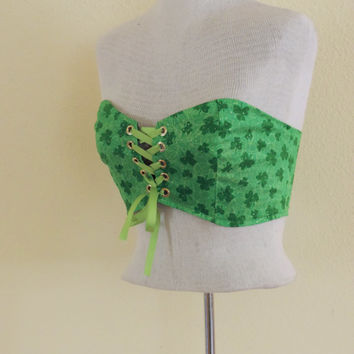 St. Patricks day womens outfit corset bandeau, gold green top, clover bandeau top, edc edm rave outfit, steampunk shirt