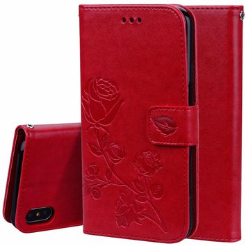 Leather Case Wallet Cover for iPhone 5 5C 5S SE 6 6S 7 8 Plus Purse Phone Bag For iPhone X Flip Stand Card Holder Flip Coque Red
