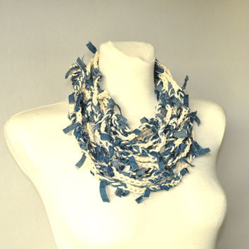 Crochet Necklace, Fiber Art, Fiber Art Necklace, Tattered Denim Stripes, Recycled Jewelry, Upcycled Necklace,